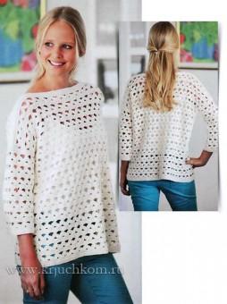 Белый ажурный пуловер для начинающих