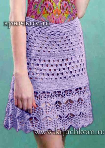 Связать юбку для женщины крючком видео