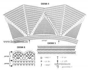 Голубая вязаная юбка крючком - схемы вязания