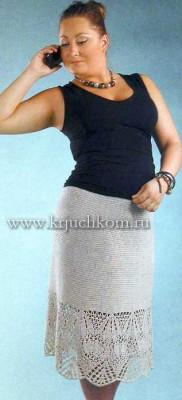 Вязаная юбка с ажурной каймой
