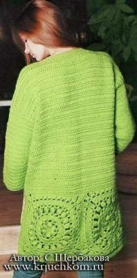 Вязание крючком кардигана и пальто