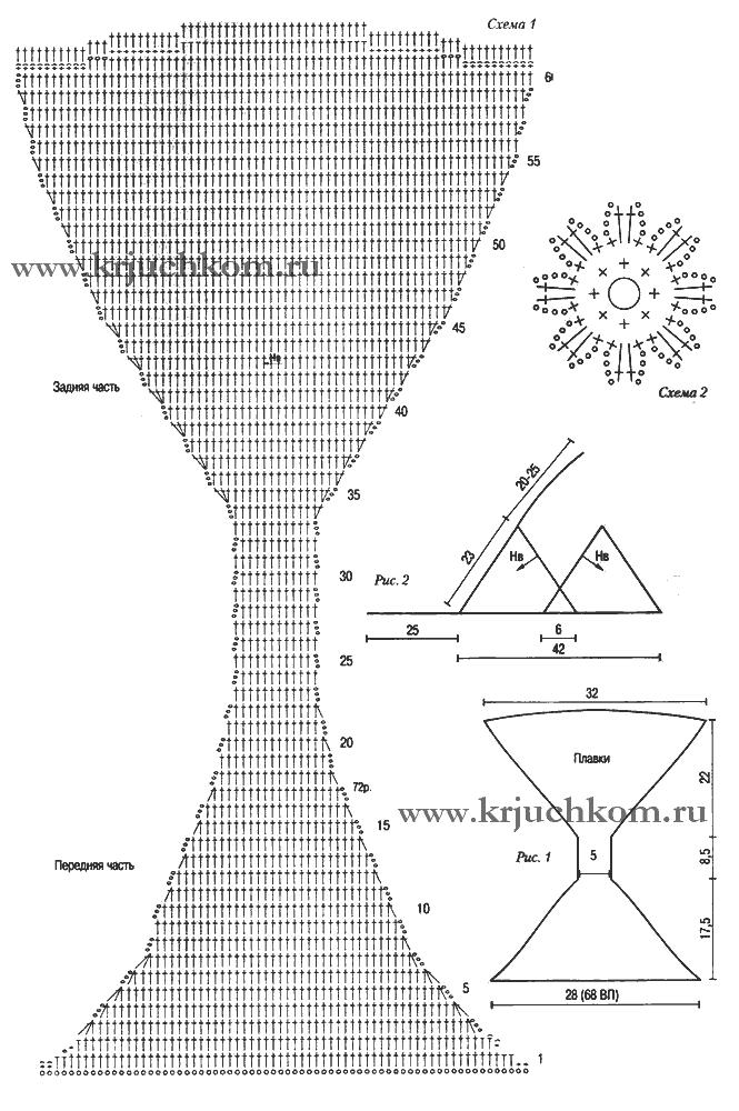 Купальник с ромашками. Схемы вязания