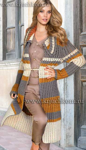 Модное вязаное пальто 2015-2016
