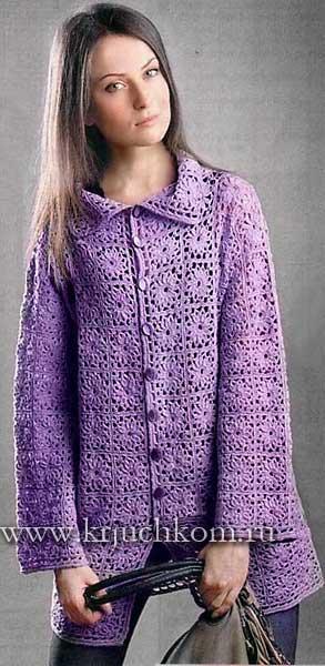Теплое вязанное пальто схемы