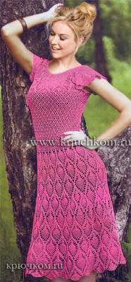 Ажурное платье крючком со схемами и описанием
