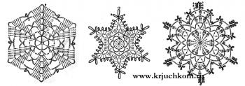 вязаные снежинки к Новому году схемы крючком