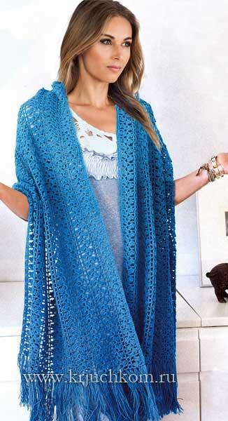 Ажурный вязаный шарф-палантин