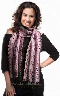 Теплый ажурный шарф крючком