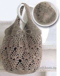 Вязаная сумка с ананасовым узором