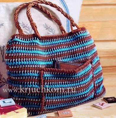 Вязание сумки тунисским