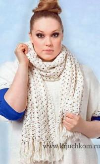 Ажурный шарф-палантин схемы вязания крючком