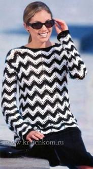 Вязание пуловера узором зиг-заг