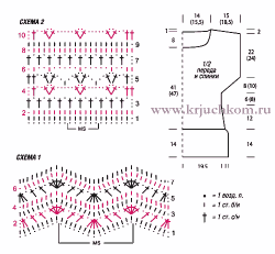 Схема вязания крючком женской кофточки для полных