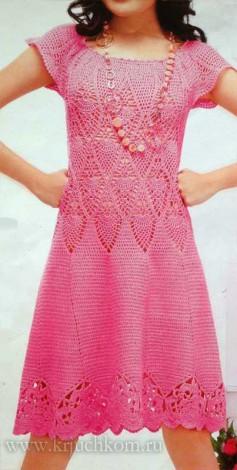 Вязаное платье крючком - схемы