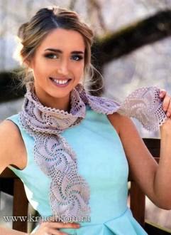 вязаный шарфик из ажурных мотивов