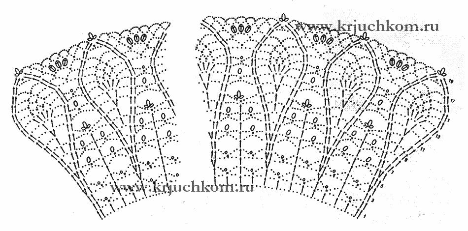 Схема вязанного крючком воротничка