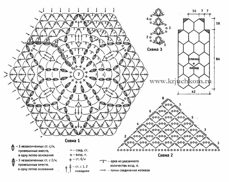 Схема шестигранного мотива крючком