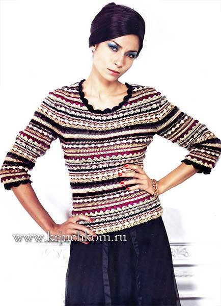 Шикарный пуловер в полоску связанный крючком