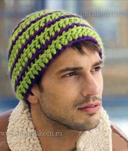 Вязаные мужские шапки 2014 с