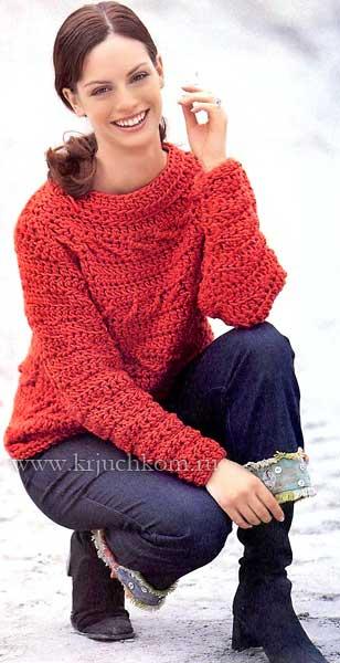 вязаный свитер крючком