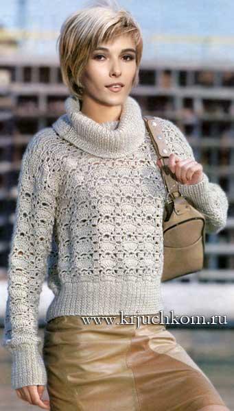 Женский ажурный пуловер со схемами