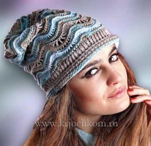 Схема вязания шапочки узором волна