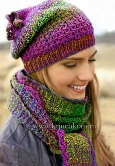 Вязание крючком шапочки и шарфа