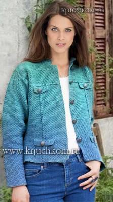 Модная модель вязаного жакета крючком 2016-2017 для женщин