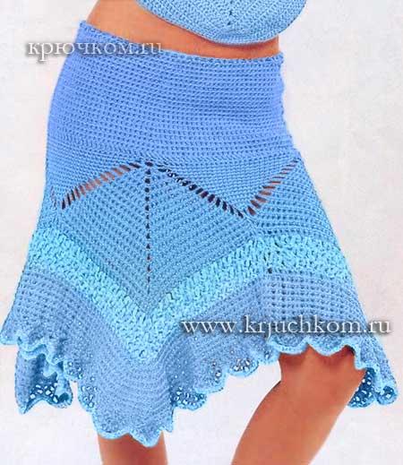 6d24975322b Голубая вязаная юбка крючком