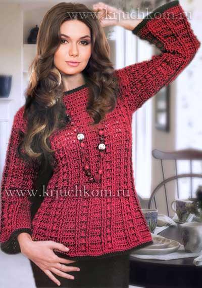 вязаный крючком свитер схемы вязания свитера с описанием более 15
