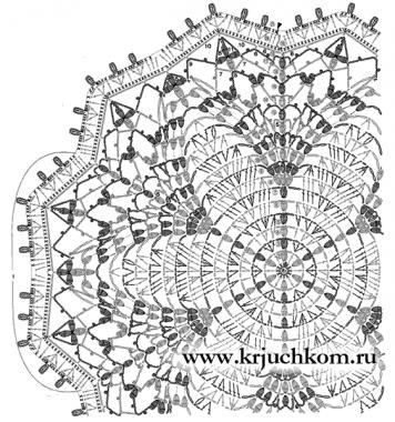 салфетка крючком схема вязания