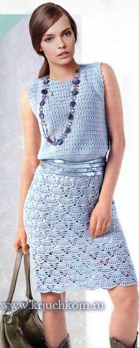 8fddf27e831 Голубое вязаное платье крючком