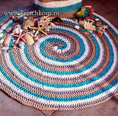 вязаный коврик по спирали мастер класс с пошаговыми фото